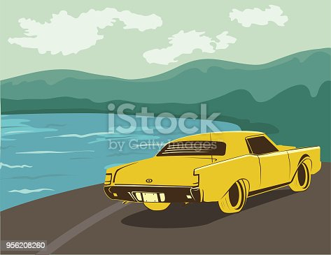 Vintage Style Classic Car Poster