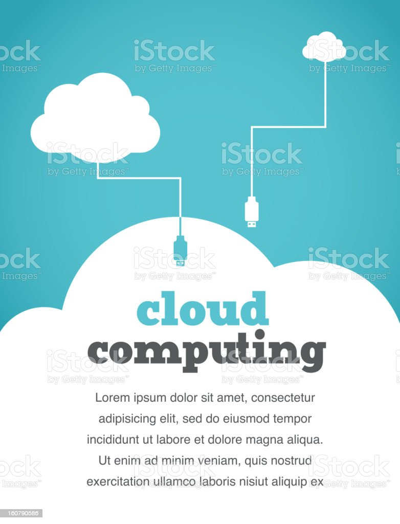 vintage style cloud computing concept vector art illustration