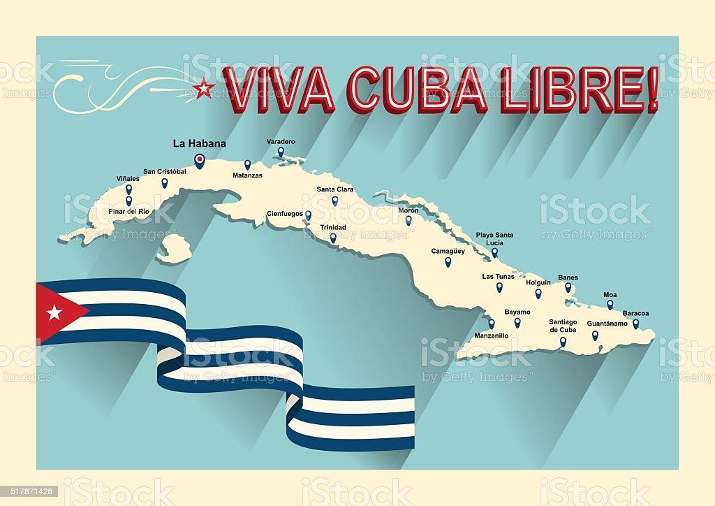 Vintagestil Kubakarte Lang Lebe Der Kostenlose Kuba Stock Vektor Art ...