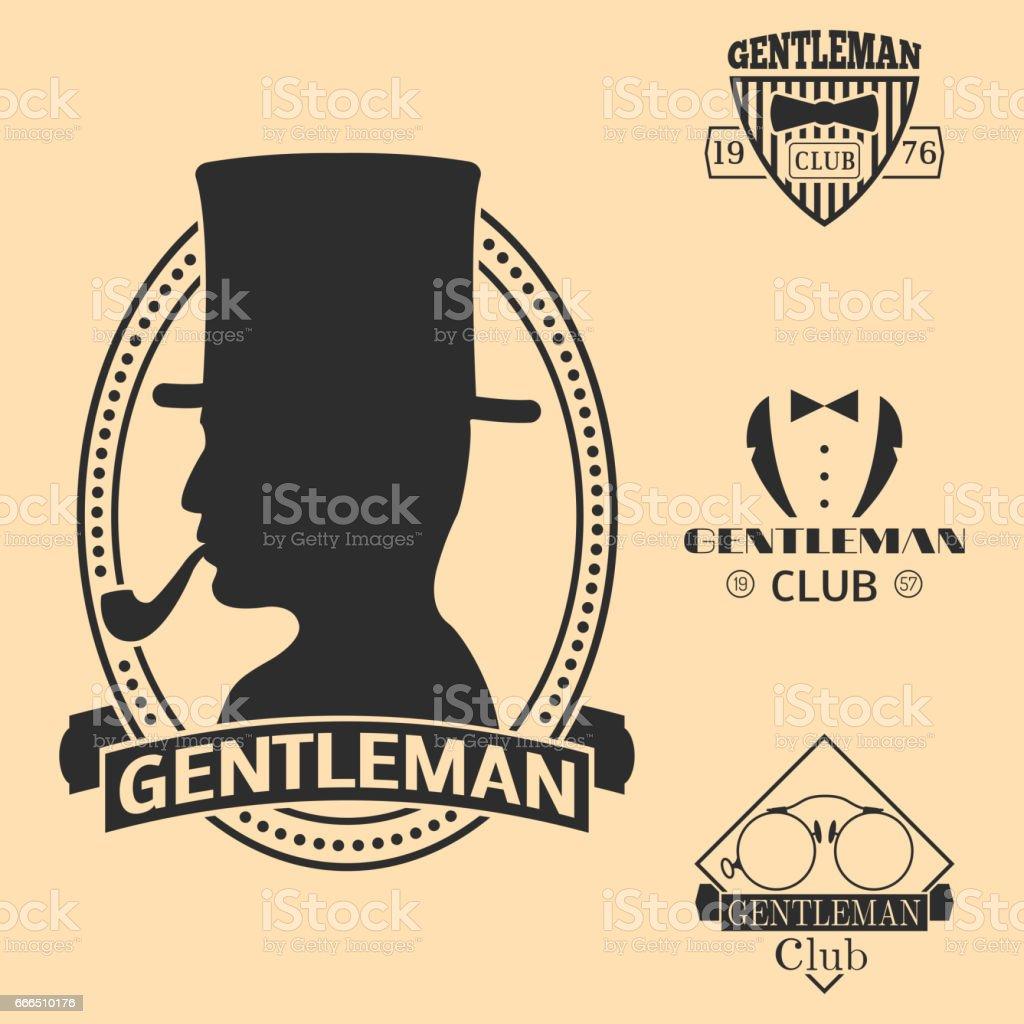 Vintage style design hipster gentleman vector illustration badge black silhouette element vector art illustration