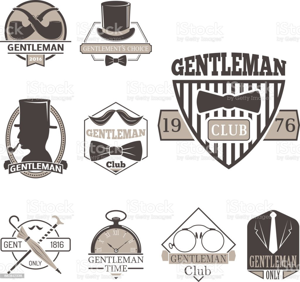 3f82ecabe02990 Vintage style design hipster gentleman vector illustration badge black  silhouette element royalty-free vintage style