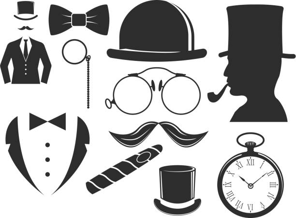 stockillustraties, clipart, cartoons en iconen met vintage stijl ontwerp hipster gentleman vector illustratie zwarte silhouet snor ontwerpelement - guy with cigar