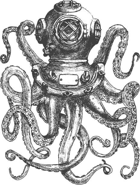 vintage style diver helmet with octopus tentacles - octopus stock illustrations