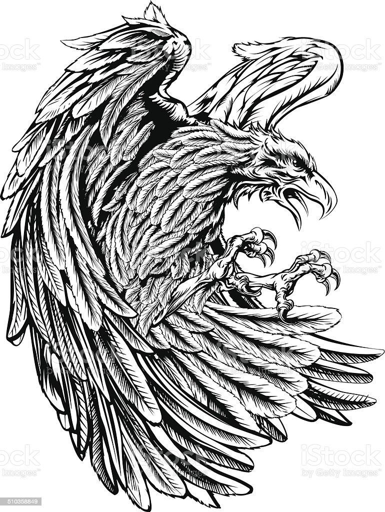 Vintage style eagle vector art illustration
