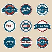 Vintage Style Election Voter Campaign Badges