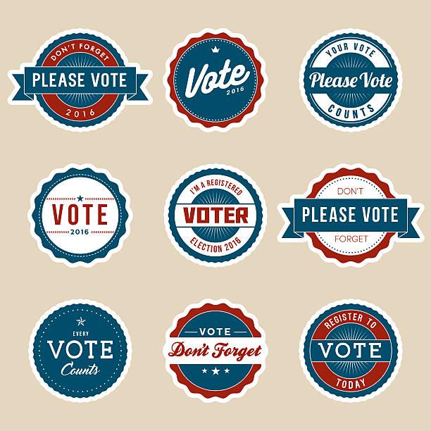 illustrations, cliparts, dessins animés et icônes de style vintage de la campagne électorale badges électeur - vote