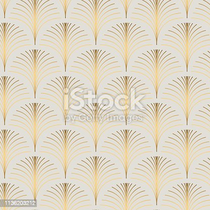 Vintage style elegant art deco repeat fan pattern/stylized palm leaf in golden metallic gradient on light background. Seamless vector fan pattern.