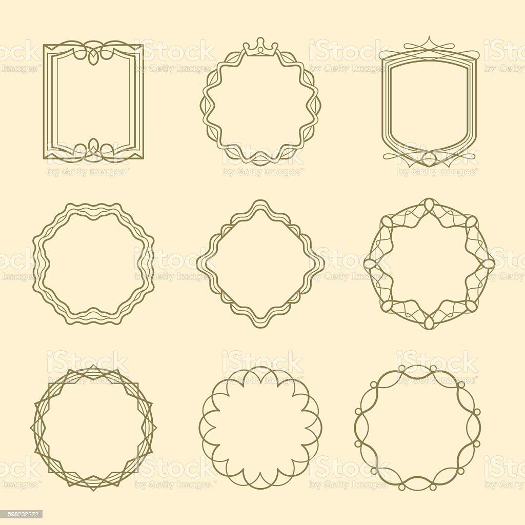 Vintage style emblems frames set ilustração de vintage style emblems frames set e mais banco de imagens de coleção royalty-free