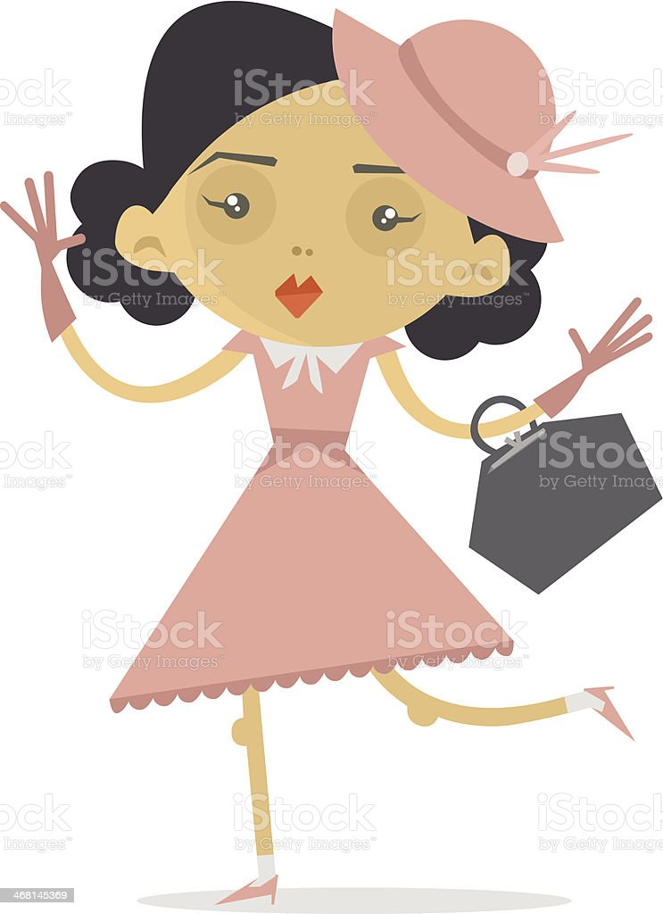 Vintage style female character royalty-free stock vector art