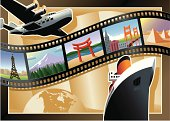 """A classic looking """"film strip"""" postcard done in a popular style of the 1930s and 40s.  The art represents modes of travel and worldwide destinations.  Add whatever text you want over the globe in the lower left and it'll be great!"""