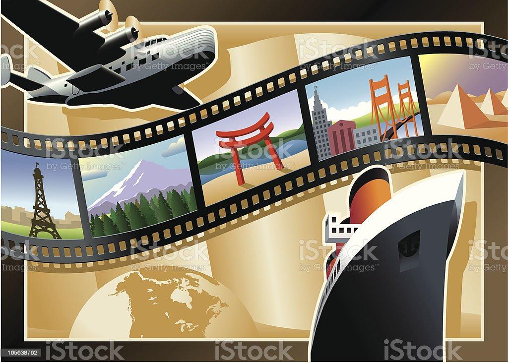 Vintage Style Film Strip Travel Postcard vector art illustration