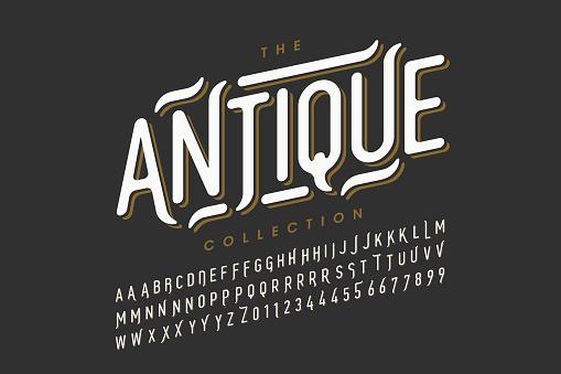 Antique, vintage style font design, vintage alphabet letters and numbers vector illustration