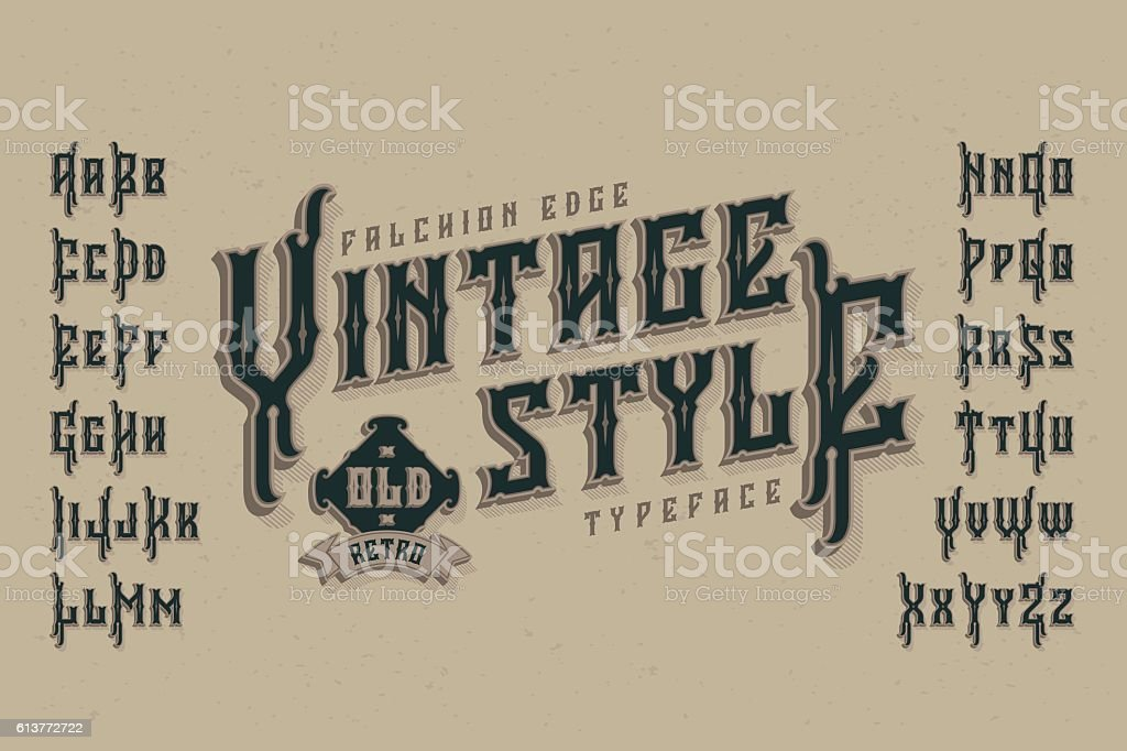 Vintage style font. Retro typeface named 'Falchion Edge'. vector art illustration