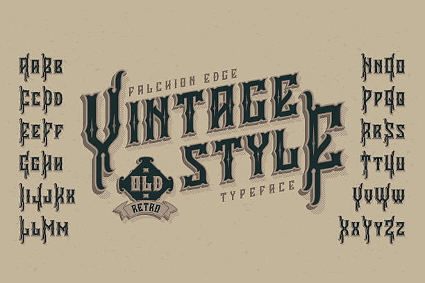 Vintage style font. Retro typeface named