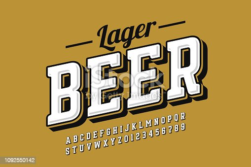 Vintage style font with simple beer label design, alphabet letters and numbers vector illustration