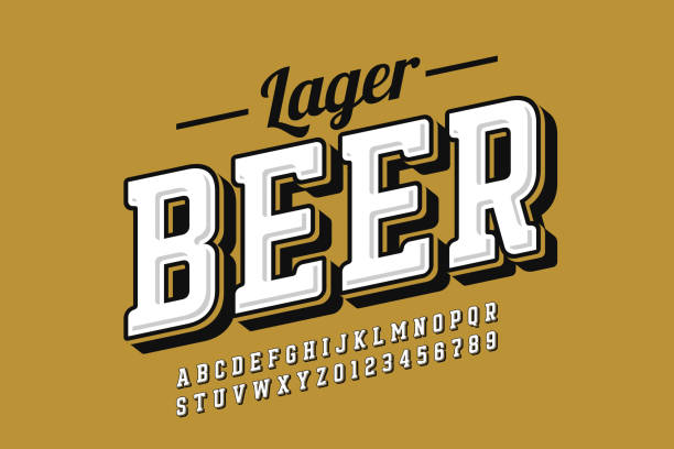 Vintage style font Vintage style font with simple beer label design, alphabet letters and numbers vector illustration beer stock illustrations