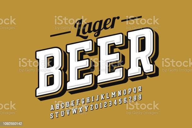 Vintage Style Font — стоковая векторная графика и другие изображения на тему Алкоголь - напиток