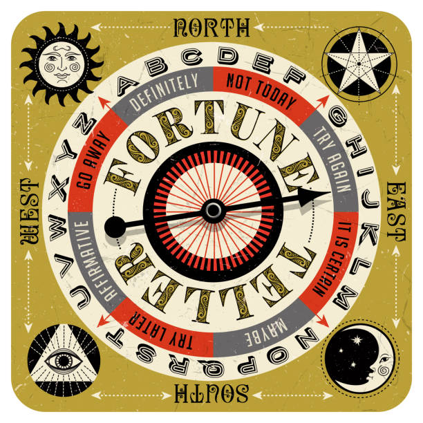 Vintage style fortune teller spin game with spinning arrow, answers, letters and mystic symbols. vector art illustration