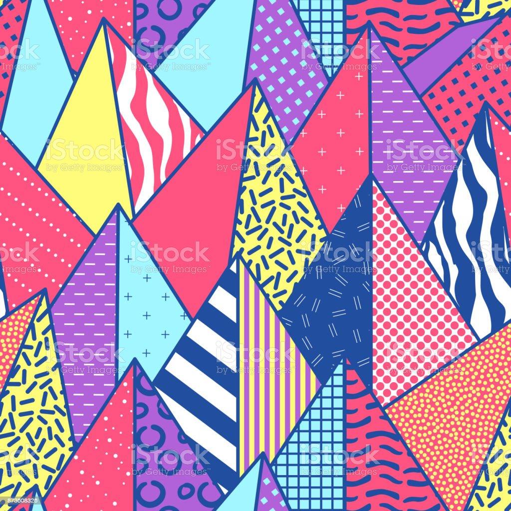 ビンテージ スタイルの三角形で幾何学的なファッションのシームレスなパターン。繊維の形の抽象背景 ベクターアートイラスト