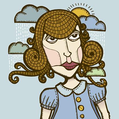 Vintage Style Girl With Rain And Sun Stockvectorkunst en meer beelden van Alleen tieners