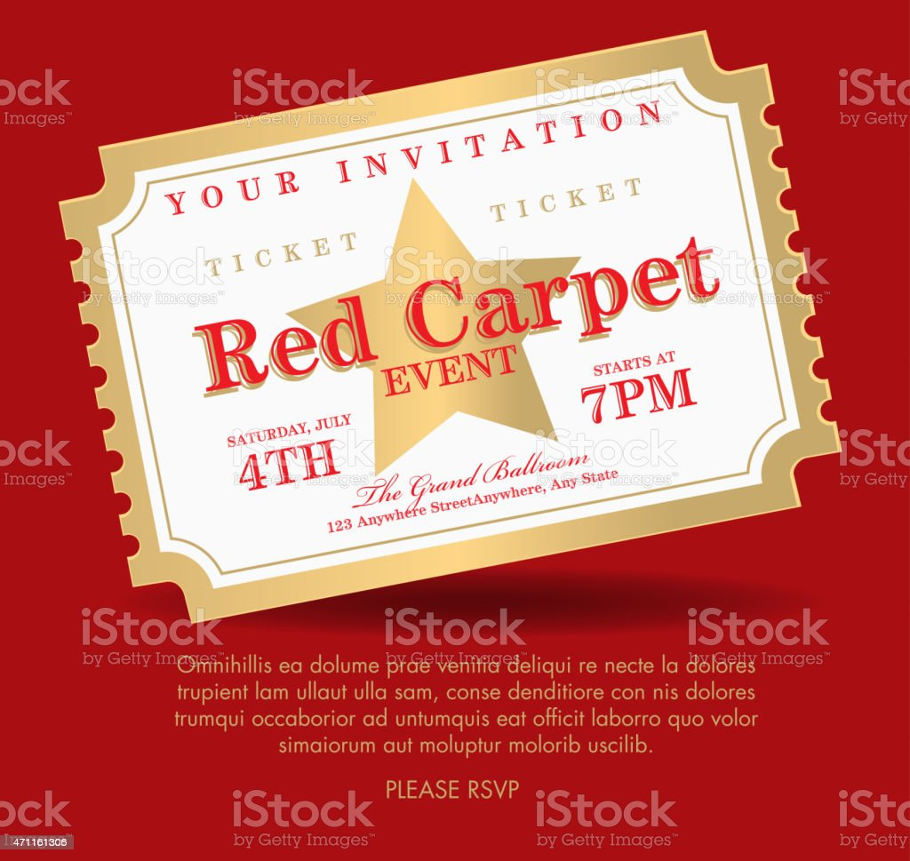 Vintage Style Gold And White Carpet Event Ticket Invitation – Free Printable Ticket Invitations