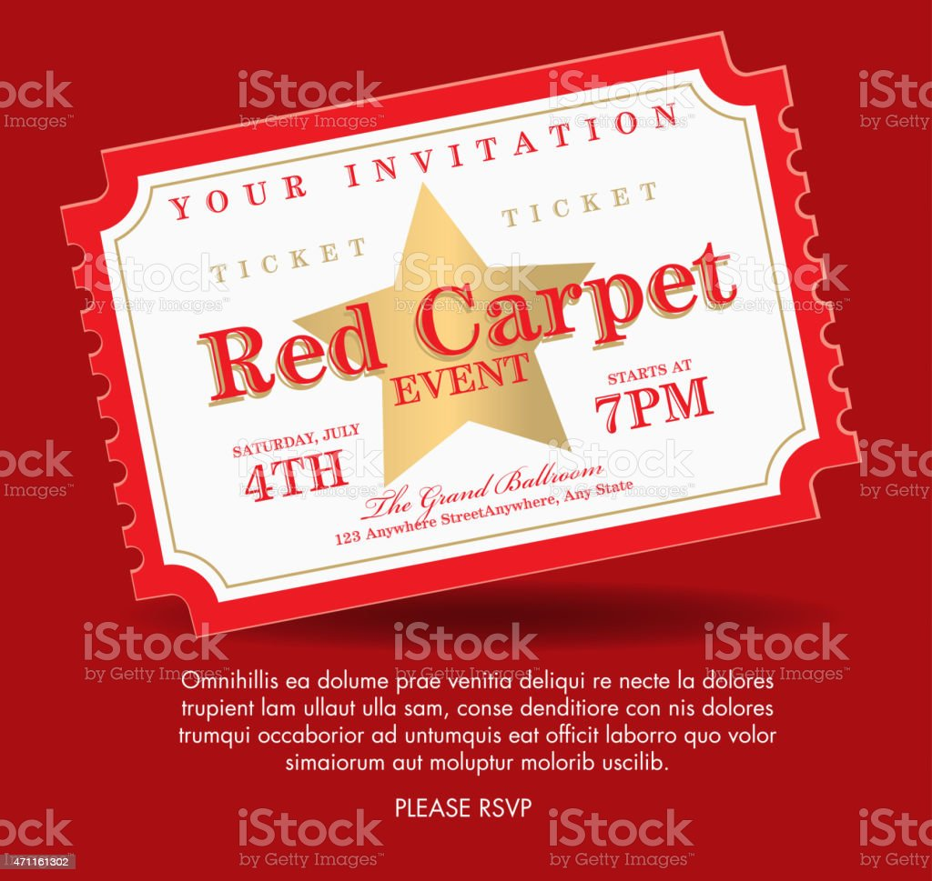 Vintage Style Gold On Red Carpet Event Ticket Invitation