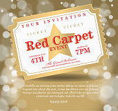 Vintage style Red and gold Carpet Event ticket party invitation template. Royalty free Vector illustration of a Red Carpet Event icon with angled ticket design. Star on face of gala event admission ticket. gold bokeh background. Fully editable and  easy to edit vector illustration layers. Includes sample text design and shadow below.