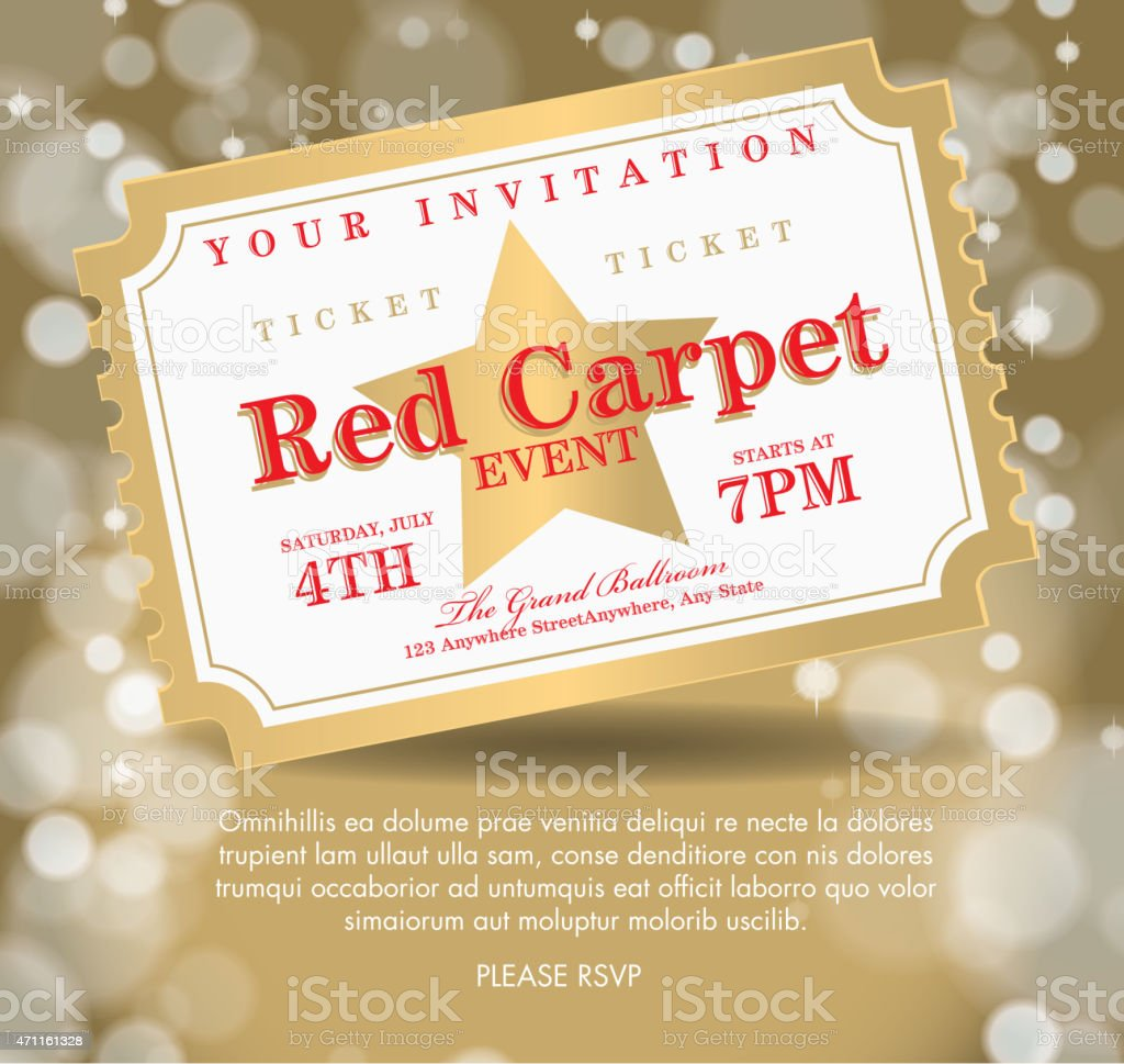Vintage style Golden Carpet Event ticket invitation template vector art illustration