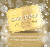 Vintage style gold Carpet Event ticket party invitation template. Royalty free Vector illustration of a Red Carpet Event icon with angled ticket design. Star on face of gala event admission ticket. gold bokeh background. Fully editable and  easy to edit vector illustration layers. Includes sample text design and shadow below.