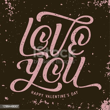 istock LOVE YOU vintage style greeting card - v4 1299448007