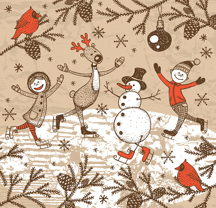 Vintage style hand-drawn Christmas and New Year illustration.