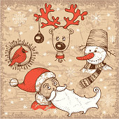 Vintage style hand-drawn Christmas and New Year illustration. Santa Claus and his friends.
