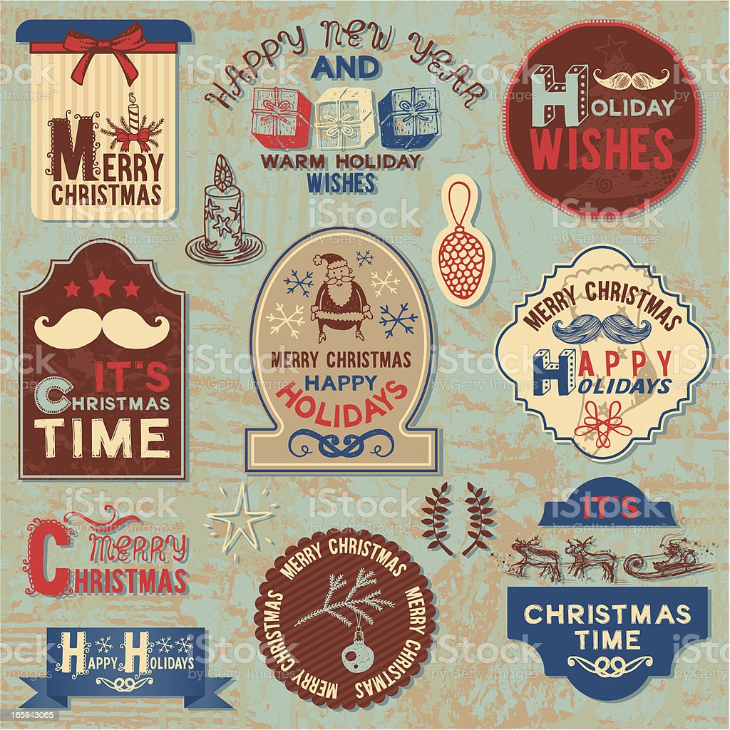 Vintage style hand-drawn New Year illustration royalty-free stock vector art