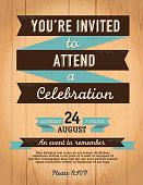 Vintage style invitation template on wood background
