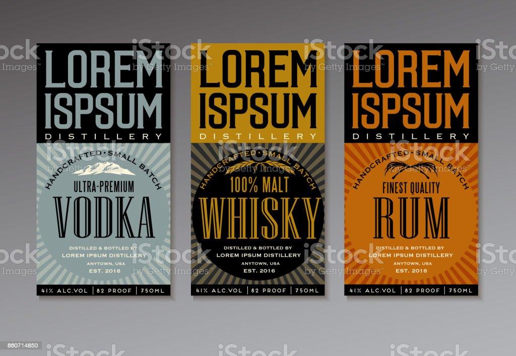 Vintagestillabeldesignvorlagen Für Wodka Whisky Und Rum Flaschen ...