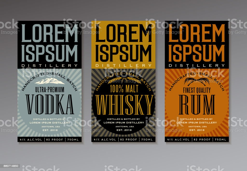 vintage style label design templates for vodka, whiskey and rum bottles vector art illustration