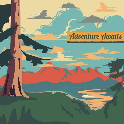 Vintage Style Landscape Background Retro Ads Print Vector Illustration
