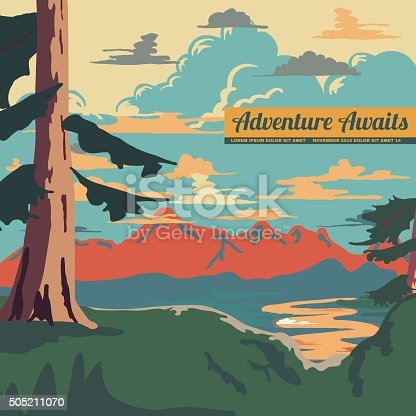 Vintage Style Landscape Background Retro Ads Print Vector Illustration