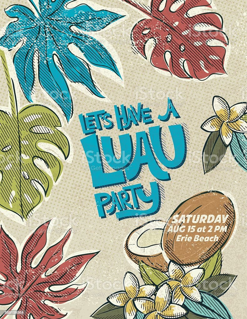 Ilustrao de vintage style luau party invitation template e mais vintage style luau party invitation template ilustrao de vintage style luau party invitation template e mais stopboris Images