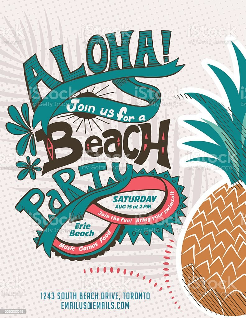 vintage style luau party invitation template stock vector art more