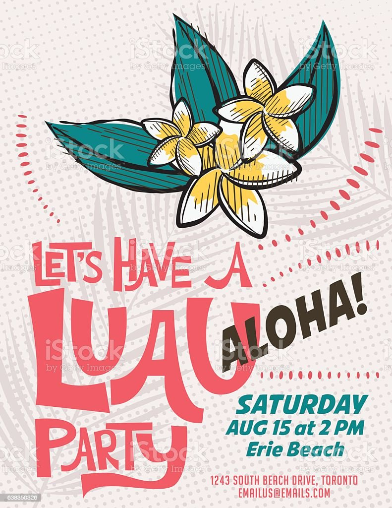 Vintage Style Luau Party Invitation Template Stock Vector Art ...