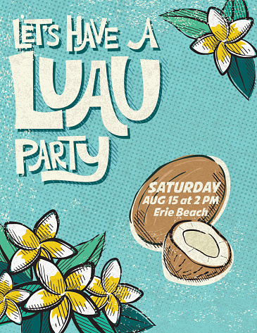 Vintage Style Luau Party Invitation Template
