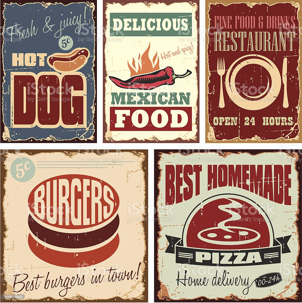 Vintage style metal signs and posters royalty-free stock vector art