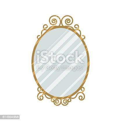 Vintage style feminine design mirror vector illustration. Home interior oval mirror with curl frame gold details.