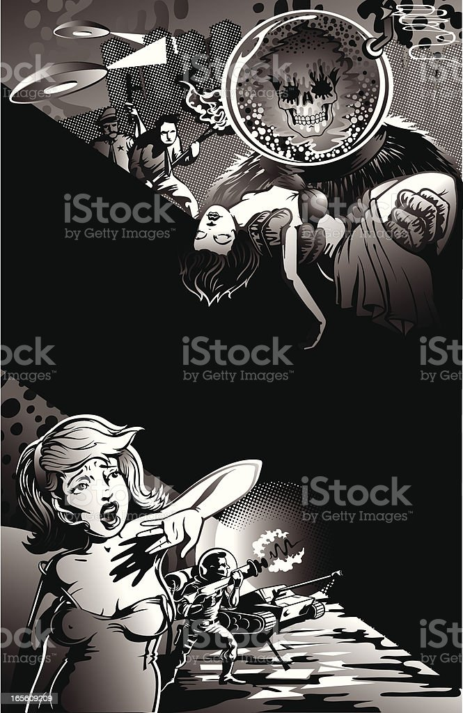 Vintage Style Movie Poster of Aliens Capturing Scared Women royalty-free vintage style movie poster of aliens capturing scared women stock vector art & more images of 1940-1949