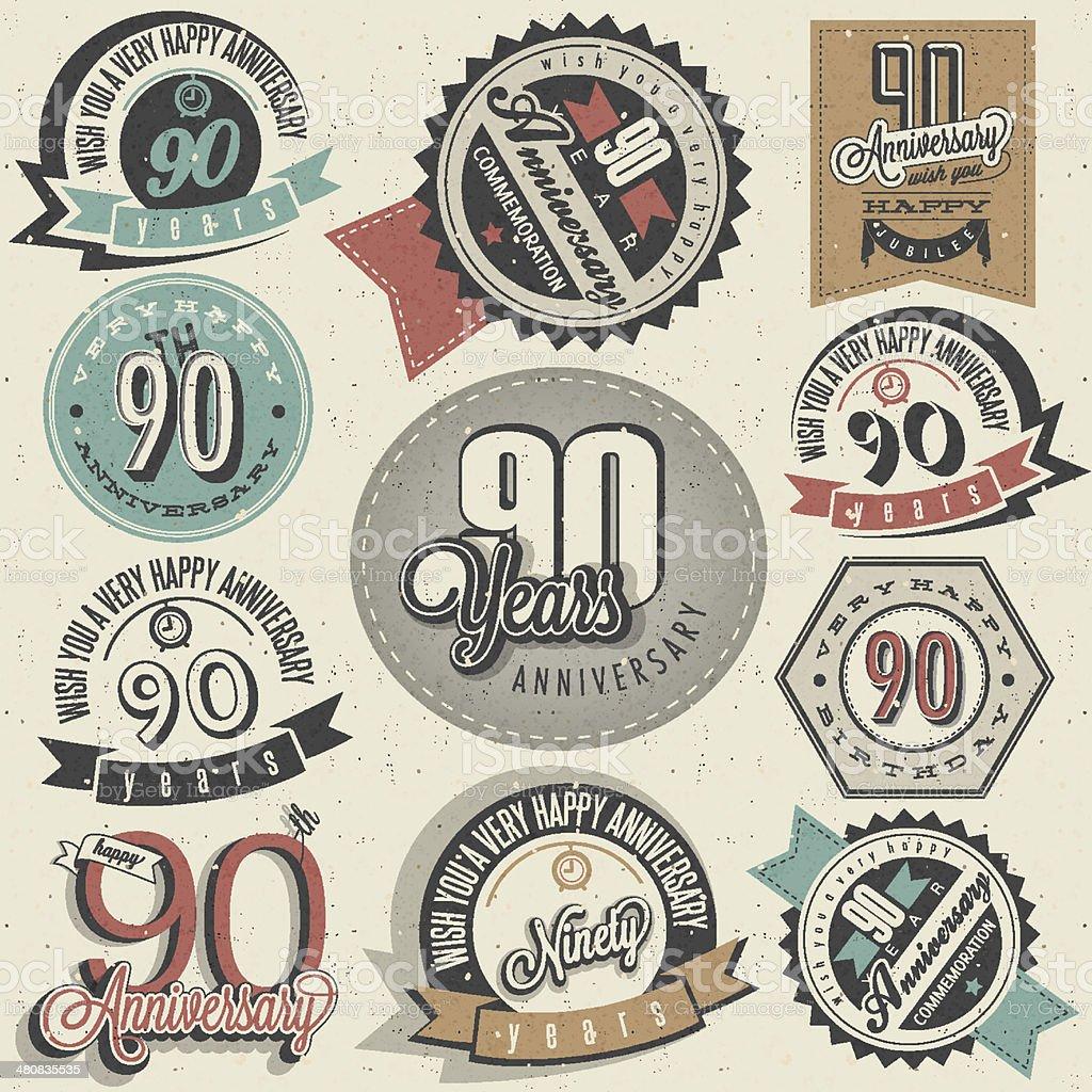 Vintage-Stil Jahrestag ninetieth Kollektion. – Vektorgrafik