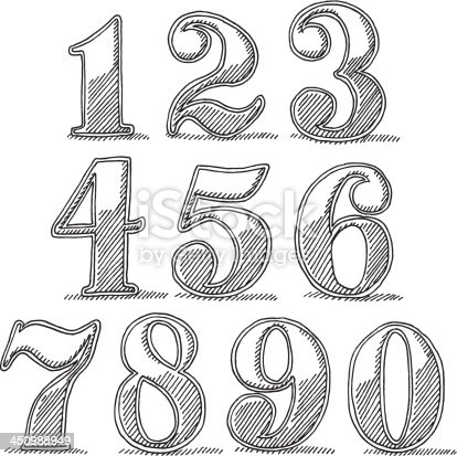 Hand-drawn vector drawing of Vintage Style Numbers. Black-and-White sketch on a transparent background (.eps-file). Included files: EPS (v8) and Hi-Res JPG.