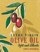 Vintage Style Olive Oil Poster, drawn in the fun cartoon style of the 1950s and 1960s. Designed to look like old illustrated cookbooks or advertising art.
