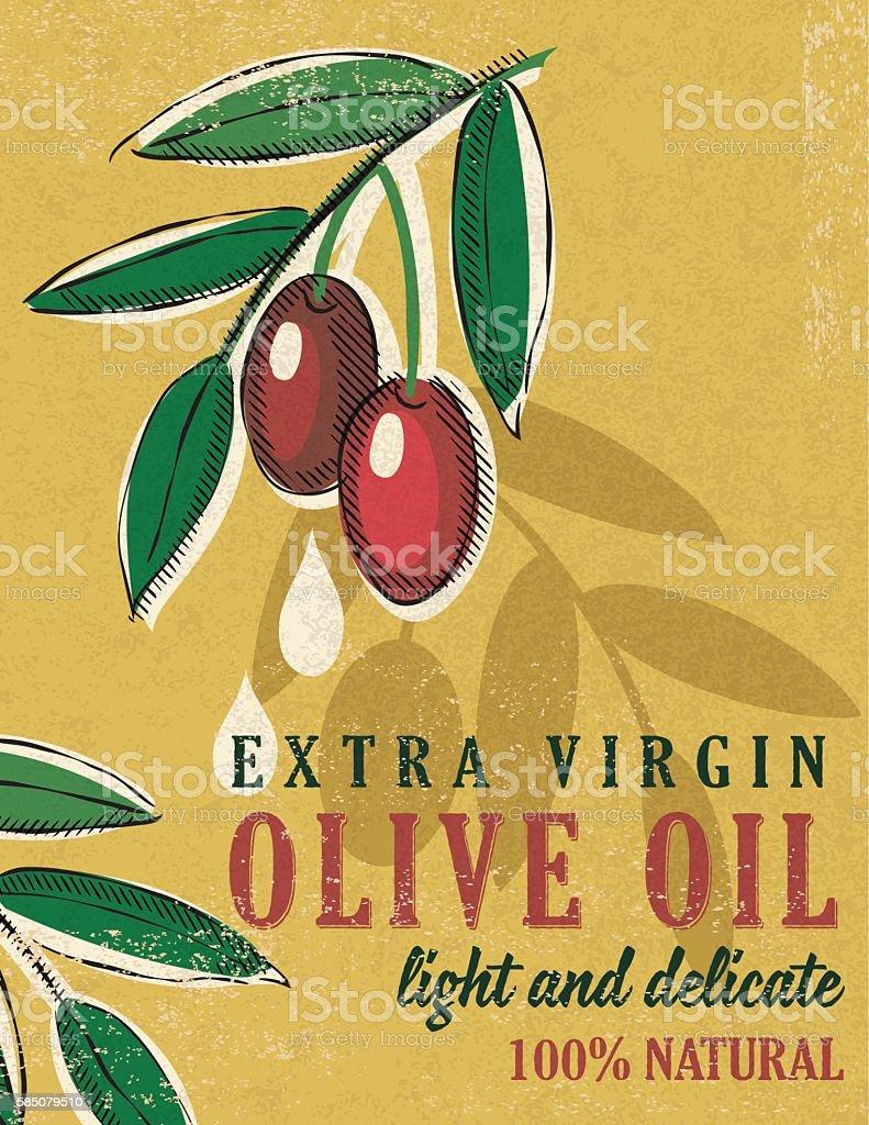 Vintage Style Olive Oil Poster vector art illustration