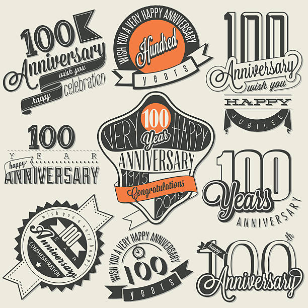 Vintage style One Hundred anniversary collection.  Retro Hundred anniversary design. Vintage labels for anniversary greeting. Hand lettering style typographic and calligraphic symbols for Centenary  100th anniversary stock illustrations